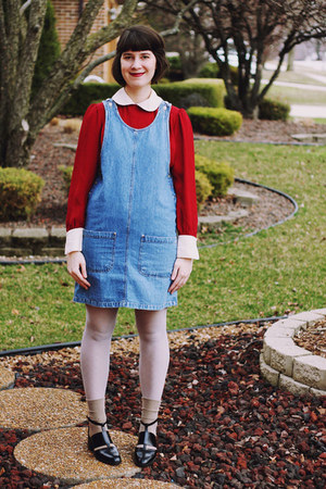 navy pinafore denim Bear and Twine dress - black cut out Urban Outfitters shoes