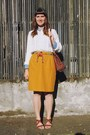 Red-pom-pom-southwest-vintage-belt-mustard-pencil-bear-and-twine-skirt