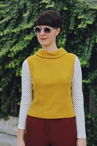 white polka dot banana republic shirt - mustard turtleneck Voyeur Vintage shirt