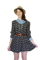 black vintage floral Bear and Twine romper - camel Urban Outfitters hat