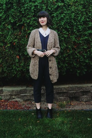 navy jumpsuit linen Urban Outfitters jumper - dark brown knit wool Zara sweater