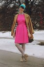 Hot-pink-cut-and-chic-vintage-dress-camel-peacoat-thrifted-coat