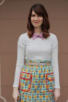 turquoise blue patterned modcloth skirt - white polka dot banana republic shirt