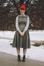 Heather-gray-wool-moonchild-vintage-dress-ruby-red-beanie-fall-code-hat