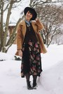 Black-floral-rebel-closet-dress-camel-peacoat-thrifted-coat