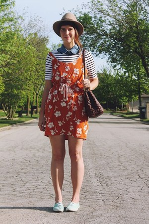 carrot orange floral August Wrinkle dress