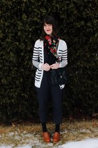 white striped Forever 21 cardigan - burnt orange clogs Urban Outfitters shoes