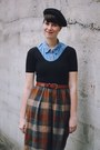 Brown-tartan-new-old-fashion-vintage-skirt-black-beret-moonchild-hat