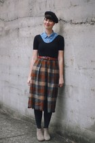 brown tartan New Old Fashion Vintage skirt - black beret Moonchild hat