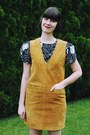 Black-fight-for-flight-dress-mustard-suede-pinafore-omnia-vintage-dress