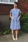 Blue-tartan-bottle-blonde-vintage-dress-white-neon-urban-outfitters-sandals