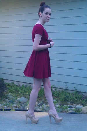 burgandy dress - handmade watch - handmade necklace - nude mary-jane pumps