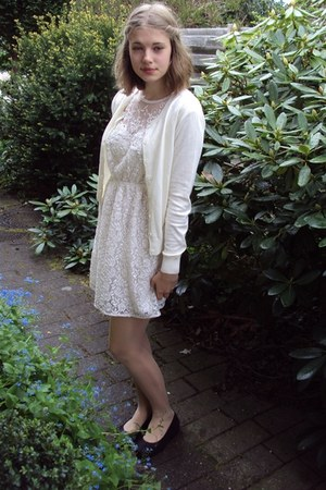 Zara dress - vagabond flats - vintage cardigan