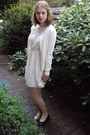 Zara-dress-vagabond-flats-vintage-cardigan