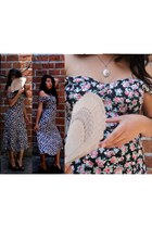 romantic Cupid heels - floral print Roberta dress - vintage TM necklace