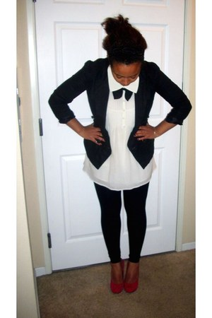 red Steve Madden shoes - ivory MM Couture shirt - black Mink Pink blazer