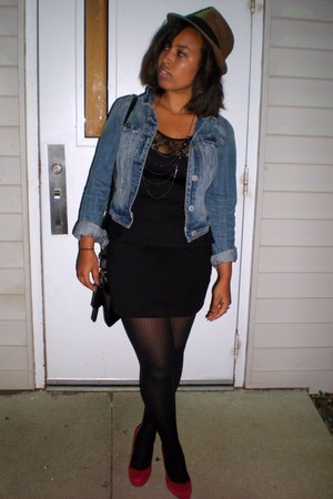 black Forever 21 dress - blue jean American Eagle jacket - red Steve Madden pump