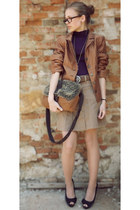 bronze random brand blazer - brown Mexx bag - brown random brand accessories