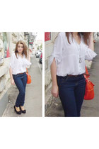 Zara blouse - Pull & Bear jeans - H&M necklace