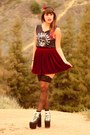 Brick-red-red-velvet-american-apparel-skirt-black-broken-bones-t-shirt