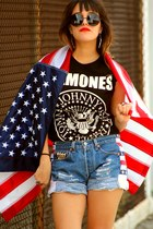 blue handmade American Flag Shorts shorts - black thirfted ramones t-shirt