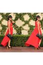 Peach-peach-gold-vintage-belt-red-fish-tail-better-b-dress