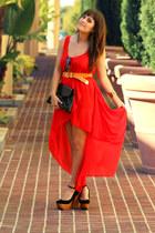 black safety platform Jeffrey Campbell heels - red fish tail Better B dress