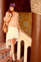 off white crochet Phanuel dress - light brown knit Fora sweater