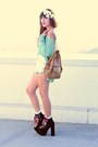 Bubble-gum-pastel-studded-dip-dyed-shorts-aquamarine-mint-knit-sweater