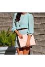 Nude-peach-gold-thrifted-vintage-belt-light-blue-mint-chiffon-vintage-dress
