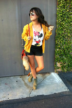 mustard knit sweater sweater - black Leather shorts shorts - red Minnie Tank top