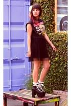 black H&M dress - white lace American Apparel socks