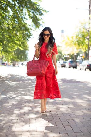 red asos dress - red Celine bag - nude Christian Louboutin heels