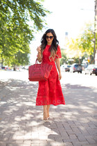 red asos dress - red Celine bag - nude Christian Louboutin heels