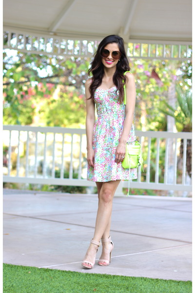 yellow Rebecca Minkoff bag - aquamarine Victorias Secret dress