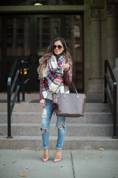 Blue-nordstrom-jeans-maroon-nordstrom-jacket-red-asos-scarf
