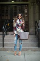 red asos scarf - blue Nordstrom jeans - maroon Nordstrom jacket