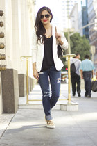black Chanel bag - blue American Eagle jeans - white H&M blazer
