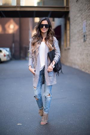 silver Nordstrom sweater - blue Nordstrom jeans - tan Steve Madden heels