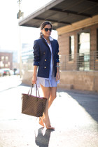 blue Zara blazer - blue banana republic dress - dark brown Louis Vuitton bag