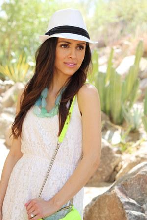 white Target dress - white Target hat - chartreuse Rebecca Minkoff purse
