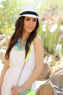 White-target-dress-white-target-hat-chartreuse-rebecca-minkoff-purse