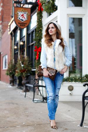 ivory Forever 21 vest - sky blue Zara jeans - light blue Zara top