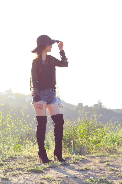 black sam edelman boots - black free people hat - blue American Eagle shorts