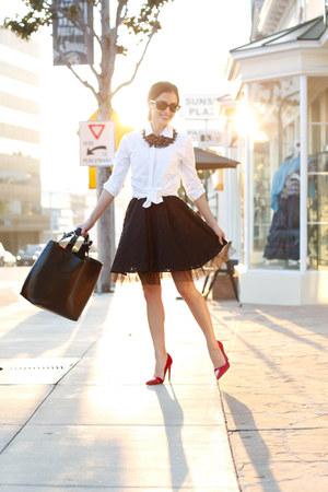 white Nordstrom shirt - black Zara bag - ruby red Zara heels