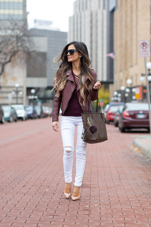 maroon free people top - white Topshop jeans - dark brown Louis Vuitton bag