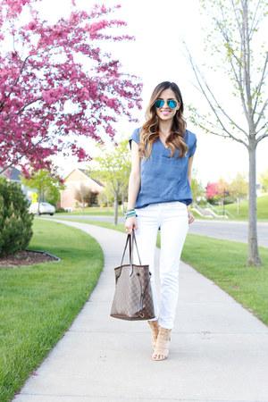 blue H&M top - white American Eagle jeans - light brown Louis Vuitton bag