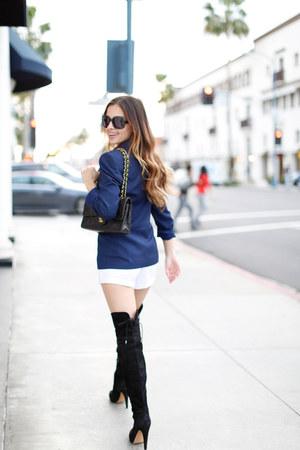 navy Zara blazer - black sam edelman boots - white Urban Outfitters skirt
