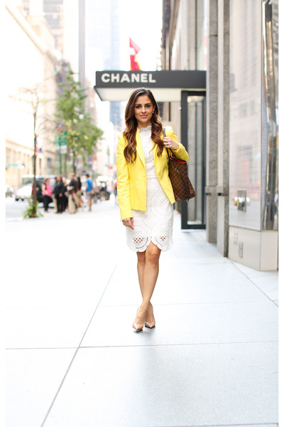 yellow Zara blazer - white asos dress - light brown Louis Vuitton bag