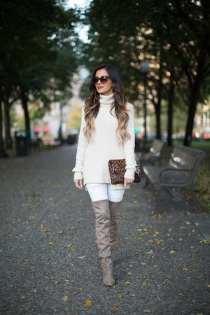 tan Steve Madden boots - white Topshop jeans - ivory Zara sweater
